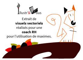 Exemple d'illustrations vectorielles pour illustrer des maximes pour une coach en Ressources Humaines réalisées par Cloé Perrotin