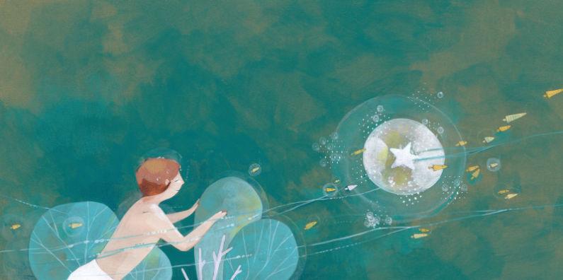 Illustration d'un enfant dans la mer avec des étoiles par l'illustratrice Eleonora De Pieri