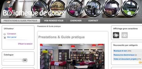 Capture du site de la Bibliothèque de Donzy dans la Nièvre en 2016