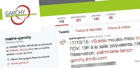 Formation aux réseaux sociaux, création des visuels et rédaction du contenu pour la Mairie de garchy sur Twitter et Google +