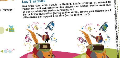 La graphiste Cloé Perrotin réalise des jeux illustrés pour l'association Pré-Textes en 2016, ici le jeu des 7 erreurs.