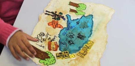 Carte aux trésors des lutins d'une élève de CP de Donzy lors de l'atelier de l'illustratrice Cloé Perrotin en 2016 au Festival du livre