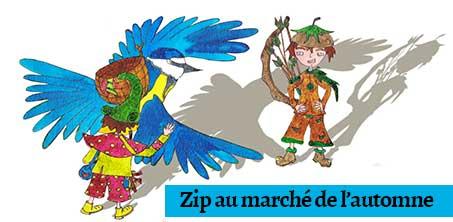 Cabochon des héros du livre Zip au marché de l'automne paru aux Éditions Benjulice illustré par Cloé Perrotin