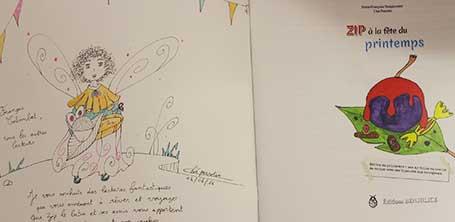 Dédicace 1 du livre Zip à la fête du Printemps à Dompierre-sur-Besbre en 2016