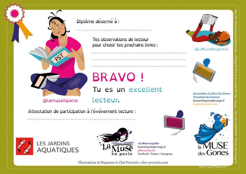 Diplôme illustré réalisé par la graphiste illustratrice Cloé Perrotin pour l'animatrice chroniqueuse La Muse en parle pour ses ateliers aux Jardins Aquatiques en 2017