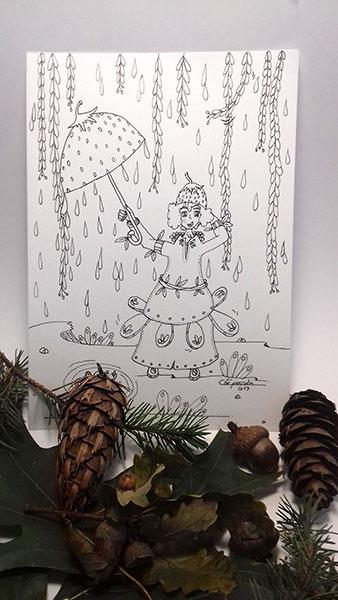 Fille au parapluie illustration à la demande de Cloé Perrotin
