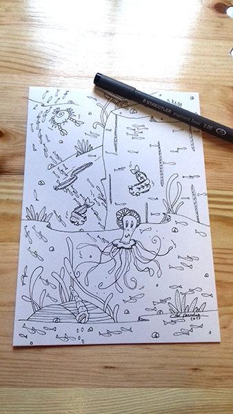 Animaux marins illustration à la demande de Cloé Perrotin