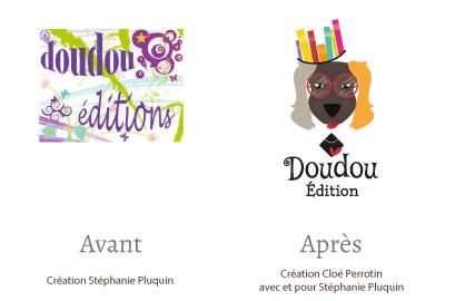 Aperçu du avant après de la refonte du logo de Doudou Edition par la graphiste Cloé Perrotin