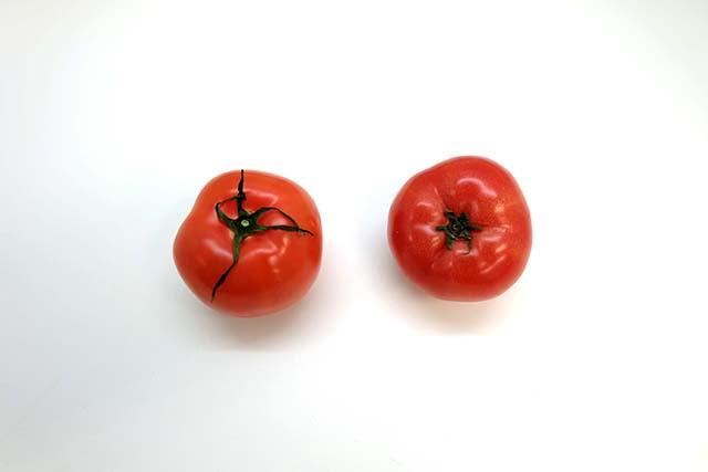品質の良いトマトとそうでない物との比較