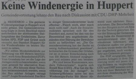 Windkraft Standort Huppert bei Heidenrod abgelehnt