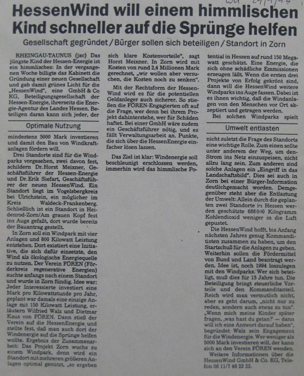 Hessen-Energie gründet HessenWind GmbH & Co KG