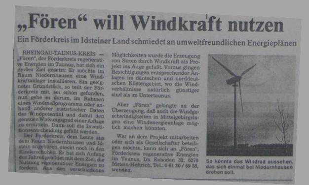 Fören für Windkraft in Niedernhausen