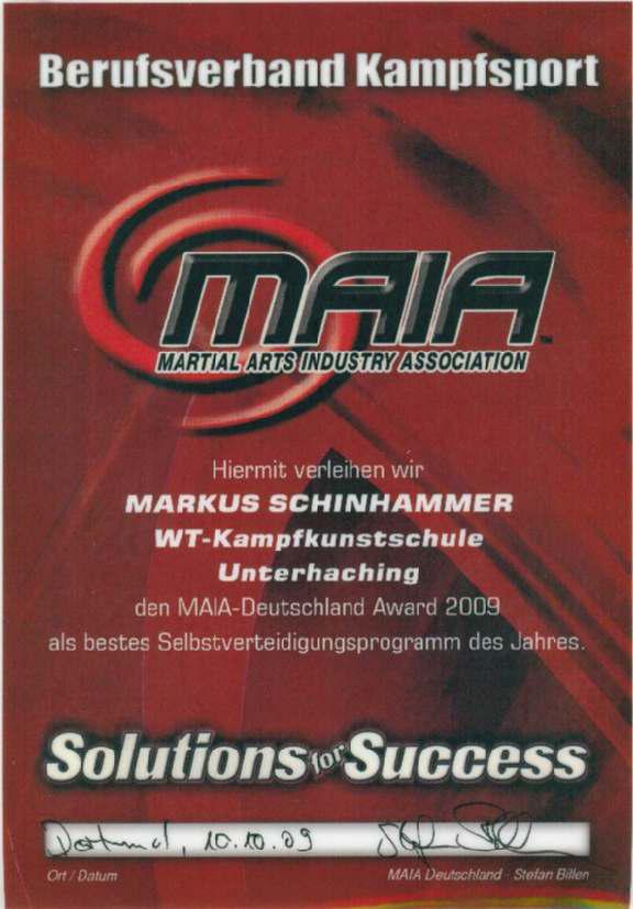 Auszeichnung als bestes SV Programm des Jahres 2009