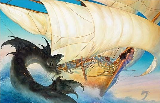 "La Vivacia, par John Howe, sur la couverture de ""Ship of Magic"""