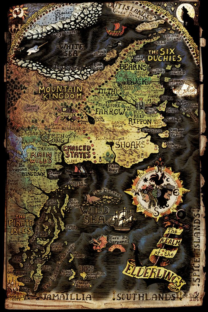Une très belle carte officielle de l'univers de Robin Hobb, qui requière toutefois d'assez bons yeux !