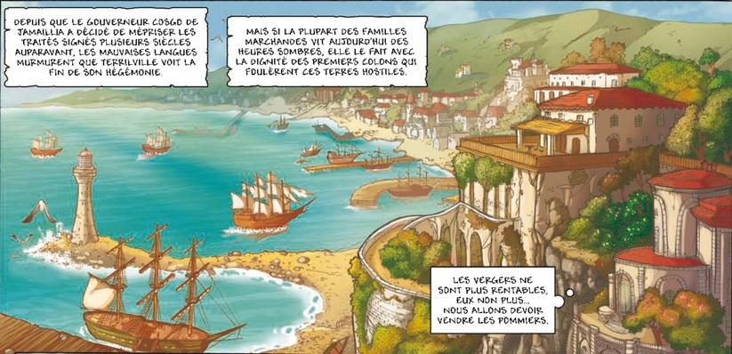 Une magnifique vue sur Terrilville dans la bande dessinée les Aventuriers de la Mer, Tome 1 Vivacia, aux éditions Soleil