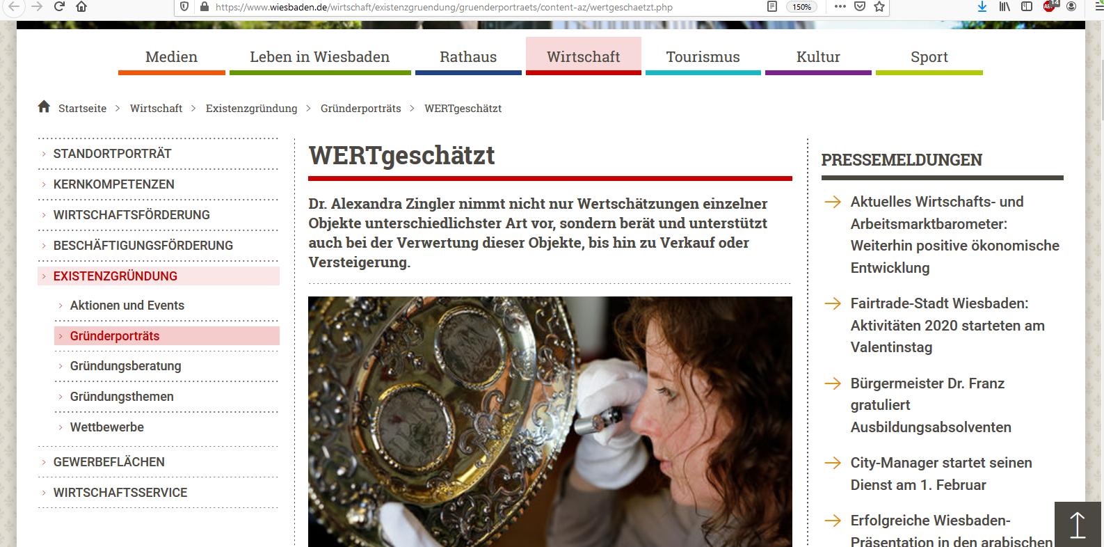 Interview mit der Gründerin von WERTgeschätzt auf wiesbaden.de