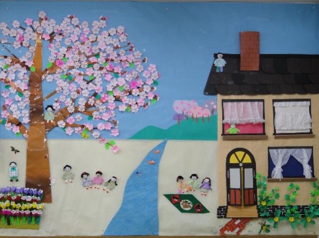 壁アート お庭でお花見