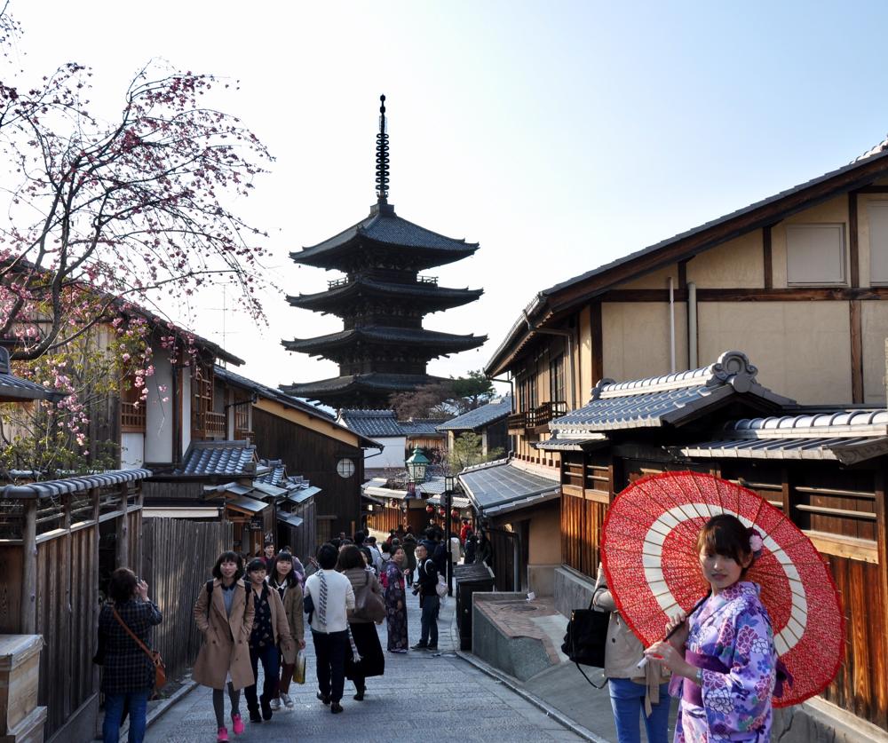Kimono Schirm Kyoto Gion Tempel Mädchen