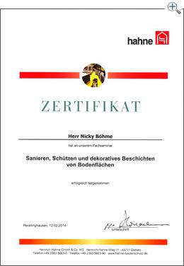 MartinBau - Zertifikat Sanieren, Schützen und dekoratives Beschichten von Bodenflächen