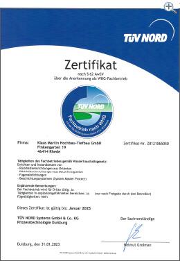 MartinBau - Zertifikat Fachbetrieb nach WHG