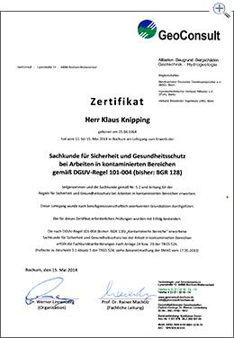 MartinBau - Zertifikat Klaus Knipping Arbeiten im kontaminierten Bereich