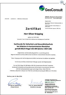 MartinBau - Zertifikat Oliver Knipping - Arbeiten im kontaminierten Bereich
