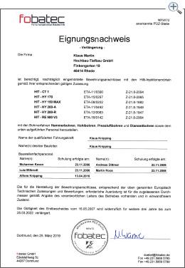 MartinBau - Zertifikat nachträglich eingemörtelte Bewehrungsanschlüsse