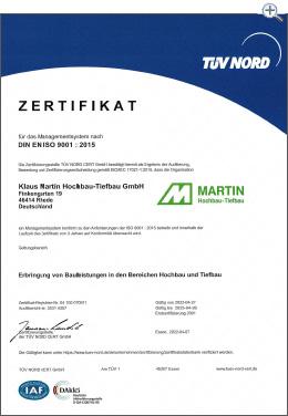 MartinBau - Zertifikat QM - Qualitätsmanagement