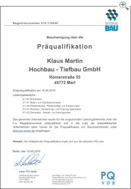 Martin Bau - Zertifikat Präqualifikation PQ VOB