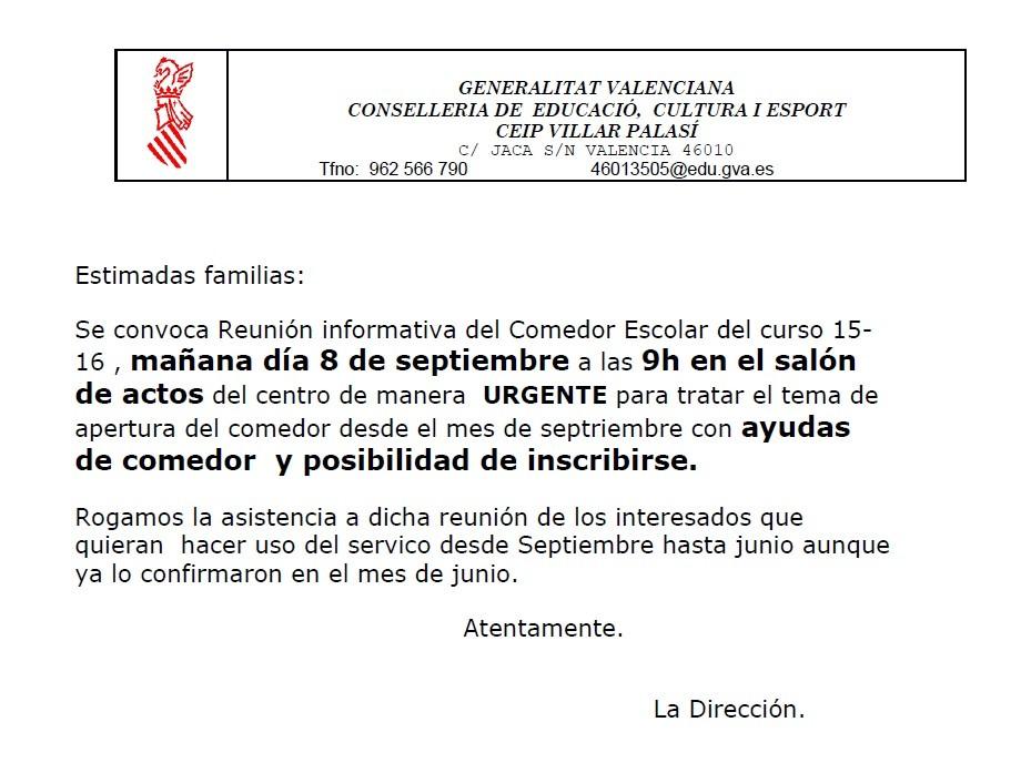 Reunión comedor escolar 2015-16 - AMPA C.E.I.P. Villar Palasí-Vivers