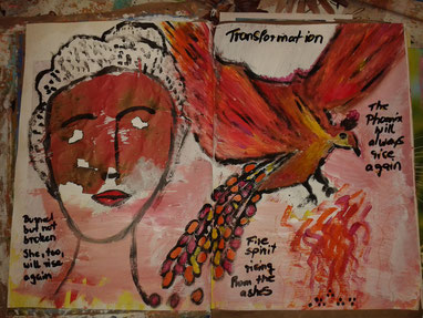 Art Journaling intuitives Malen Malprozess Ausdrucksmalen Workshops Bingen Kunsttagebuch