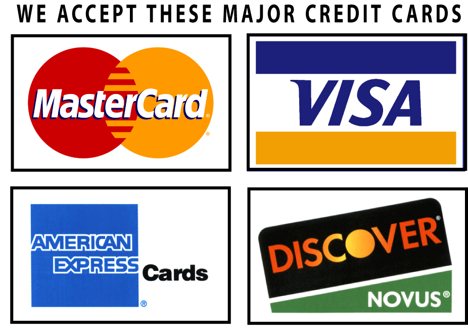 All Major Credit Card Accepted or Online Bill Pay