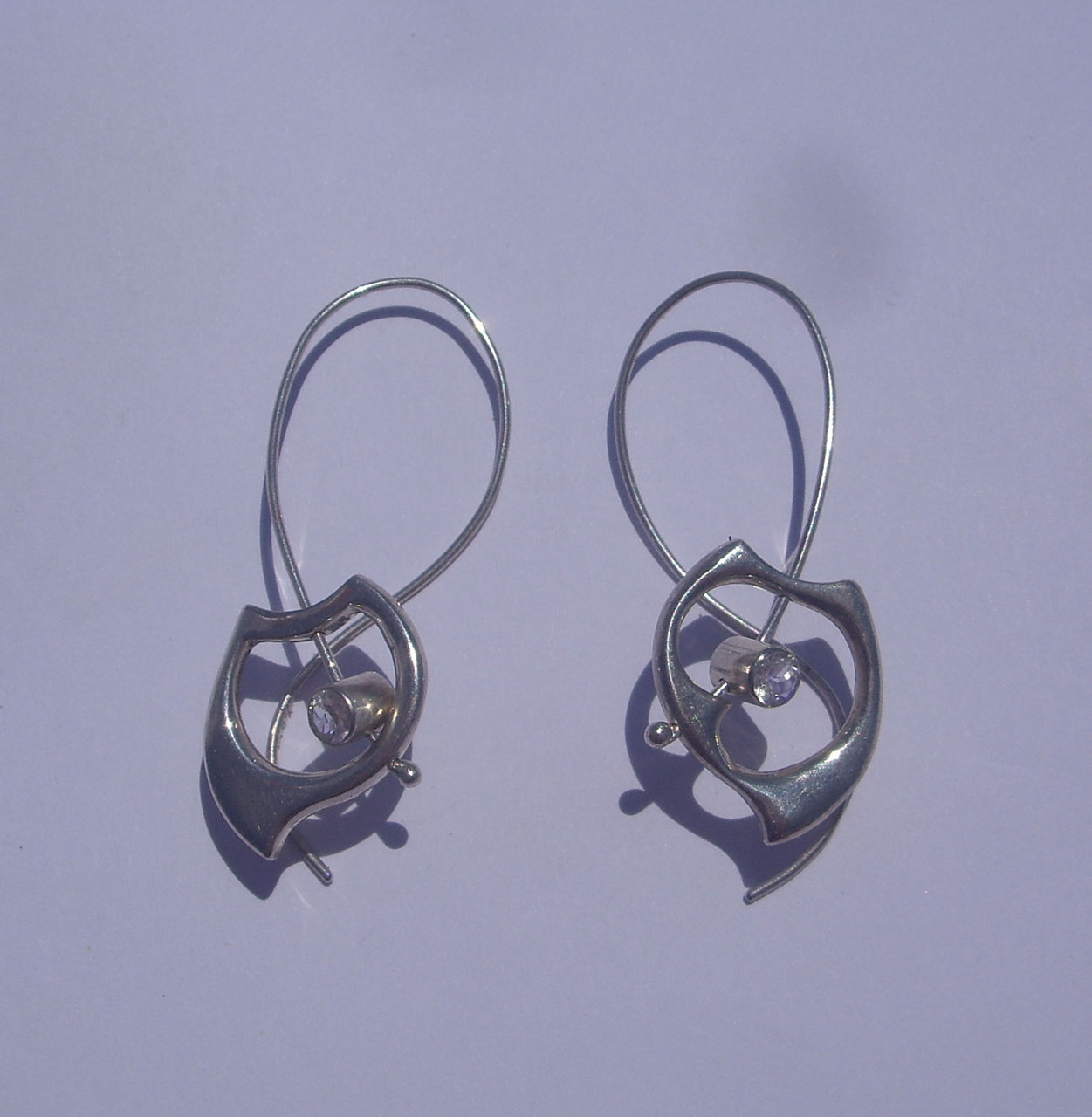 Wave Twist Earrings. Sterling Silver, Moonstones
