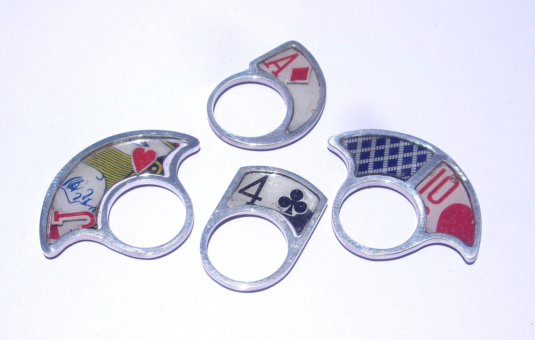Playing Card Rings. Sterling Silver, Resin, Playing Card Pieces