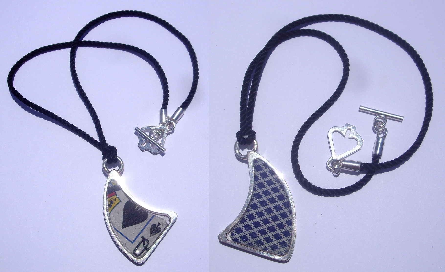 Wear you necklace to show off your card, or flip it over to hide it!