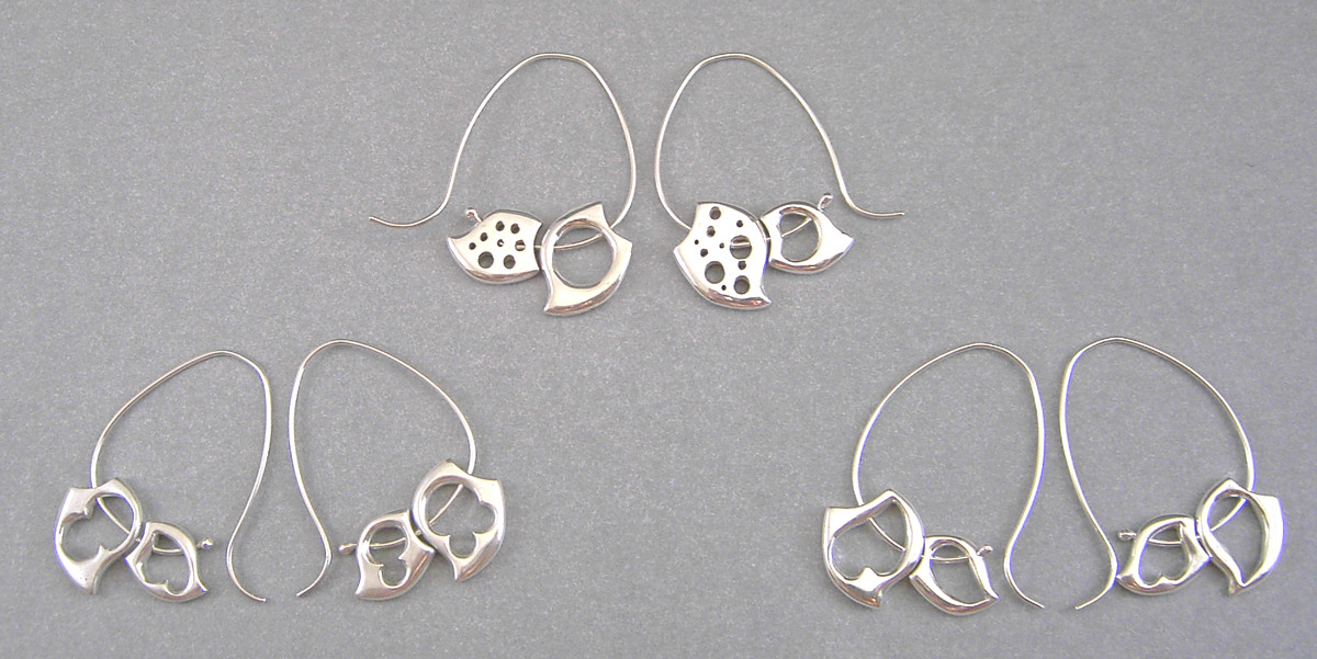 Double Wave Earrings. Sterling Silver