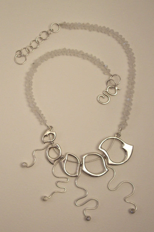 Large Wave Necklace 3. Sterling Silver, Moonstones