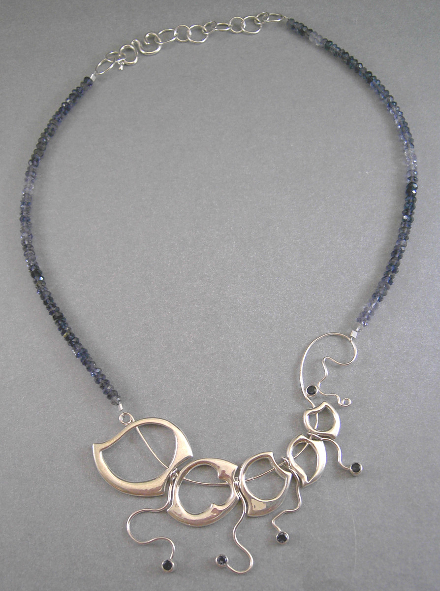 Large Wave Necklace 4. Sterling Silver, Iolites