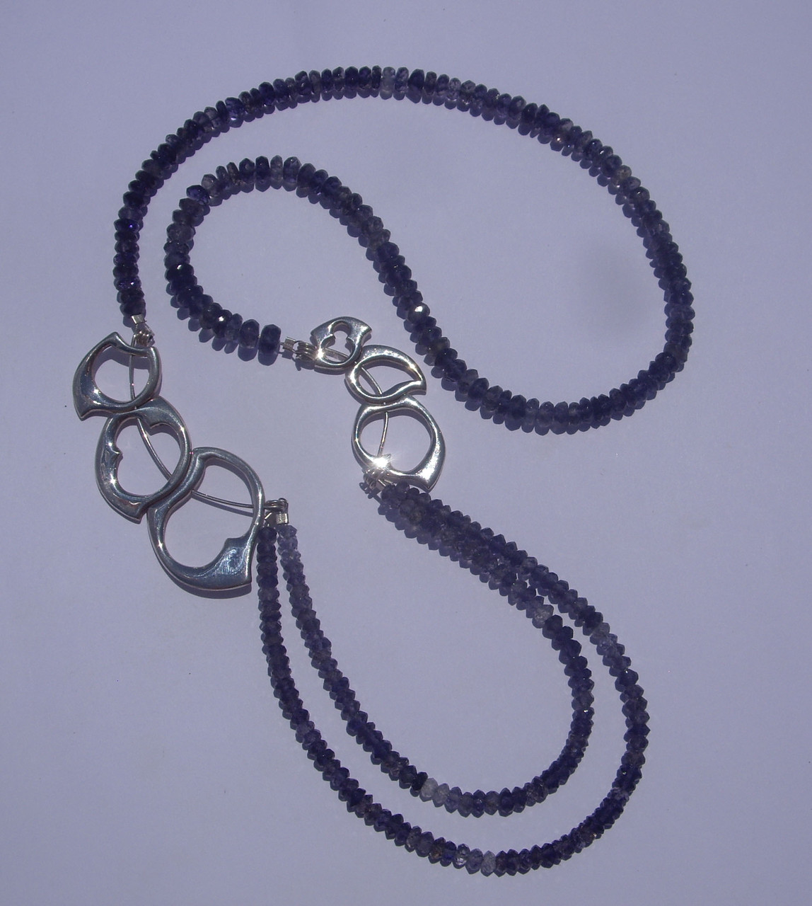 Large Wave Necklace 1. Sterling Silver, Faceted Iolites