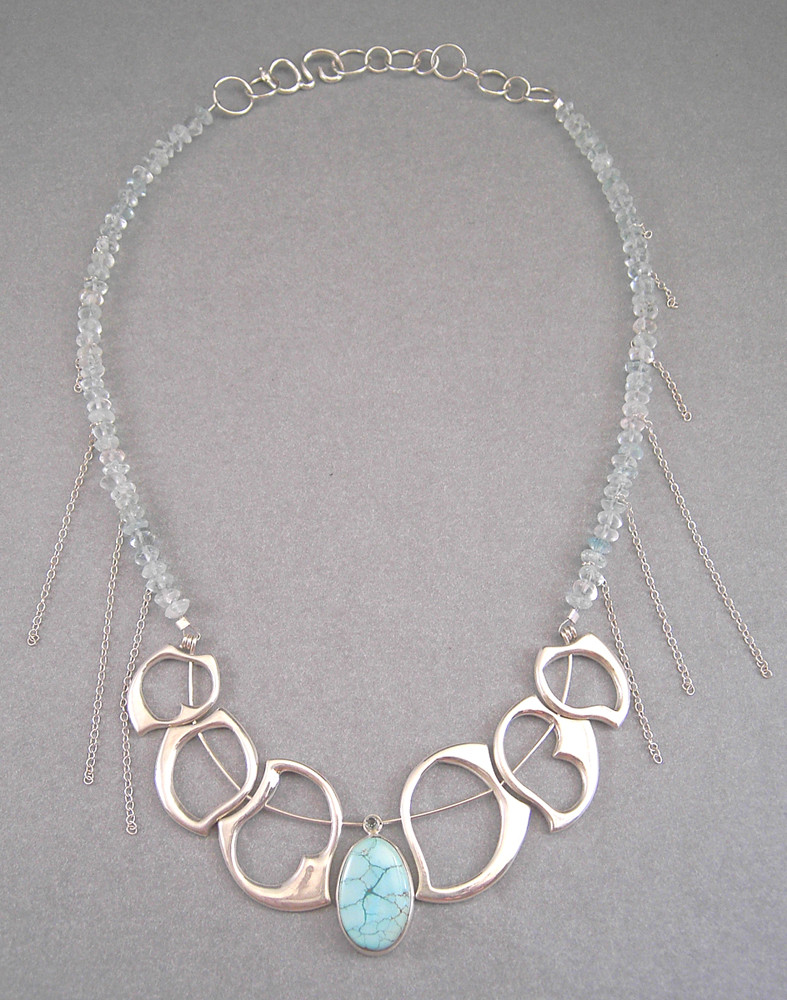 Large Wave Necklace 2. Sterling Silver, Tuquoise, Aquamarines