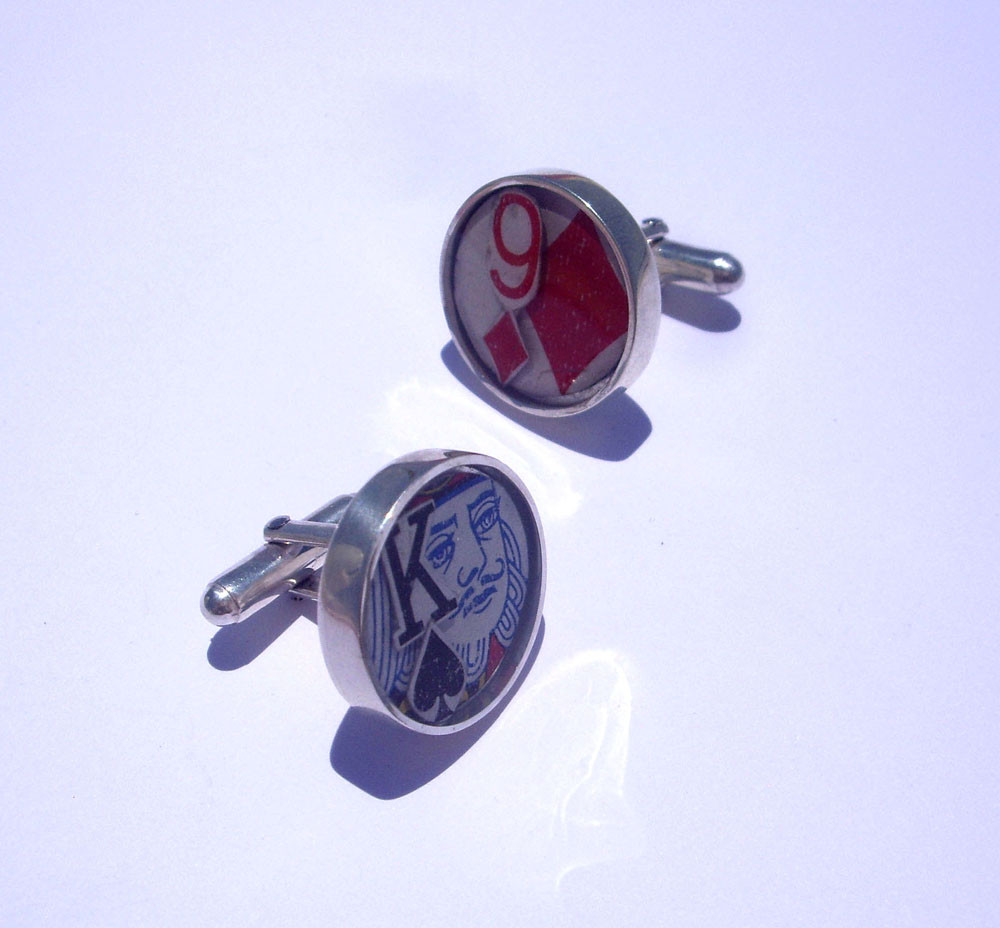 Playing Card Cufflinks. Sterling Silver, Resin, Playing Card Pieces