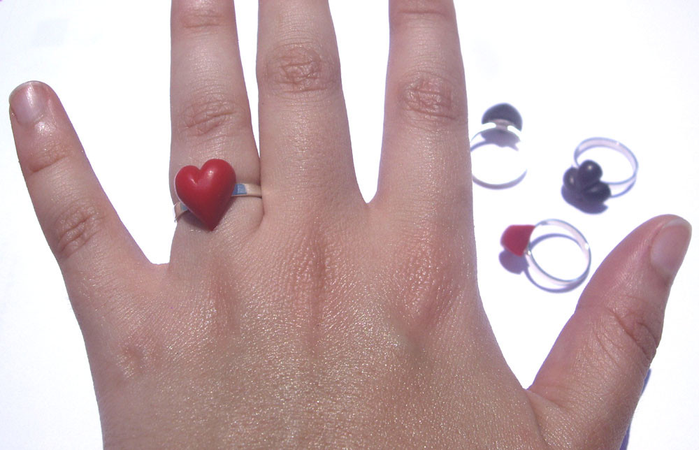 Suit Rings. Sterling Silver, Coloured Resin