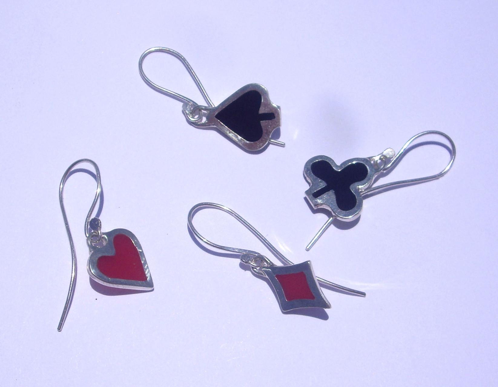 Suit Earrings. Sterling Silver, Coloured Resin