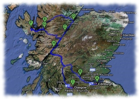 Travel by car to visit Scotland in 5 days.