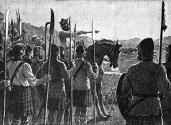Robert Bruce qui commande ses troupes à la bataille de Bannockburn