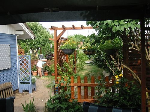 Der Blick vom Pavillon hinaus in den Garten