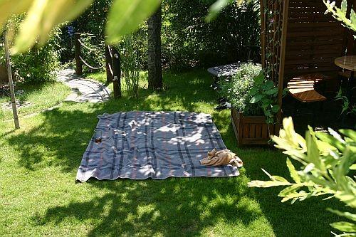 Ein idealer Platz zum Hundebekuscheln - neben der Weinschnecke auf der Decke ...