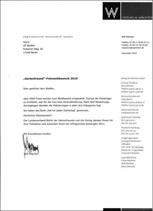 Das Gewinnerschreiben vom Landesverband Berlin der Gartenfreunde und dem Verlag