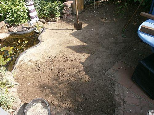 Mit dem Verlegesand wurde das Bodenniveau ausgeglichen